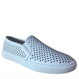 Shoes - Perforated Slip On Sneakers White Memory Foam sz 7